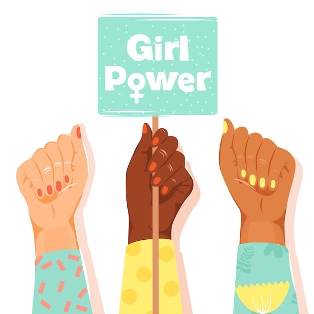 I pugni della donna mostrano il loro potere Vettore Premium