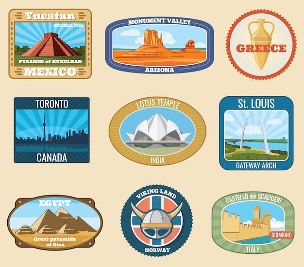 I punti di riferimento internazionali famosi di mondo vector gli autoadesivi d'annata di viaggio. famoso punto di riferimento per il turismo e l'illustrazione del viaggio Vettore Premium