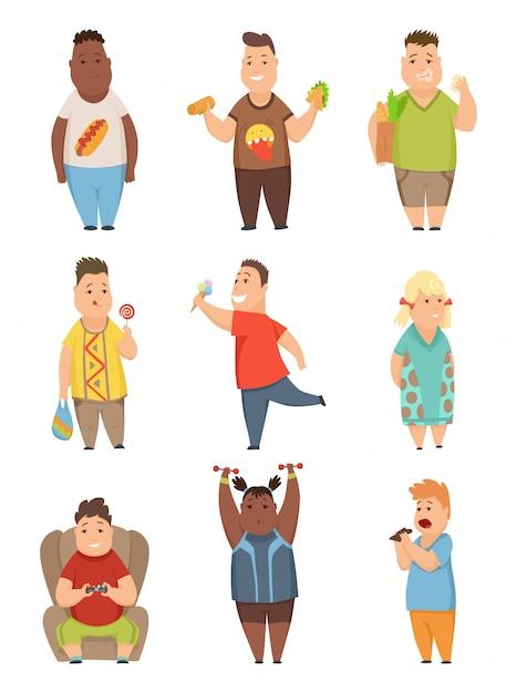I ragazzi e le ragazze di peso eccessivo hanno messo, personaggi dei cartoni animati paffuti svegli dei cartoni animati che mangiano l'illustrazione di vettore degli alimenti a rapida preparazione Vettore Premium