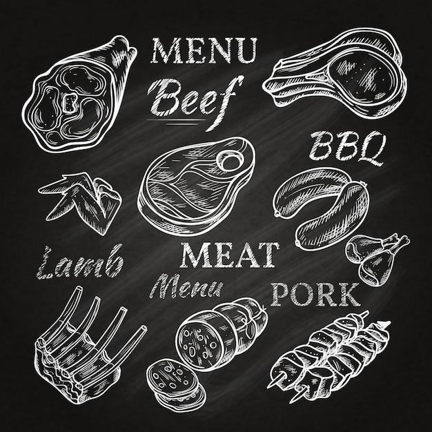 I retro disegni del menu della carne sulla lavagna con i prodotti gastronomici degli spiedi del prosciutto di maiale della carne di maiale della salsiccia di tagli di agnello hanno isolato l'illustrazione di vettore Vettore gratuito