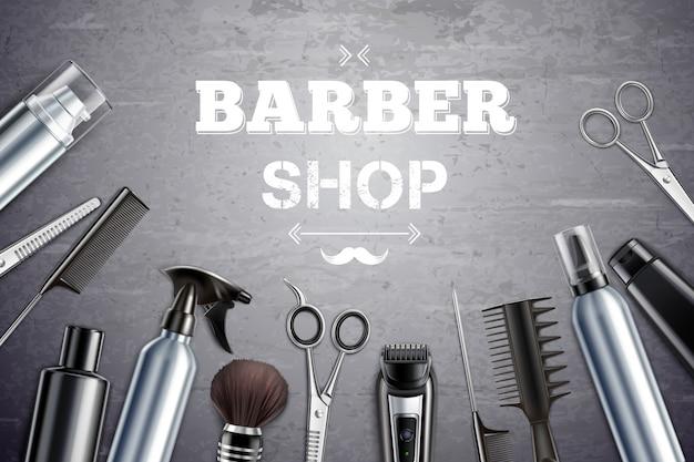 I rifornimenti di strumenti di designazione dei capelli del negozio di barbiere hanno messo la vista superiore monocromatica realistica con l'illustrazione di vettore della spazzola di rasatura Vettore gratuito