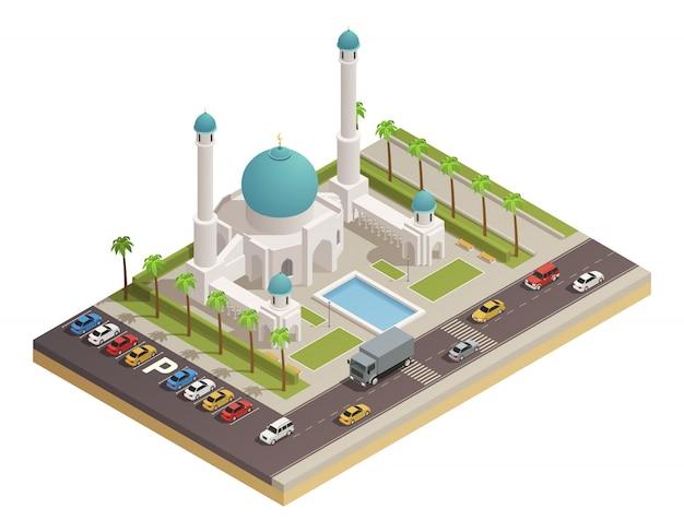 I seguaci della moschea islam adorano l'edificio con cupola, minareti e strade adiacenti Vettore gratuito