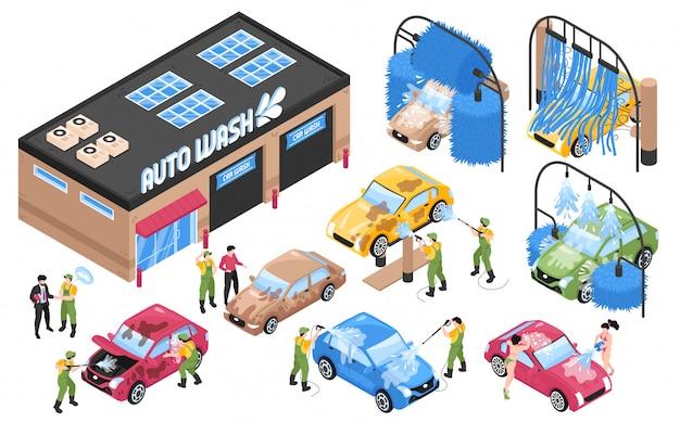 I servizi isometrici di lavaggio dell'automobile hanno messo con le costruzioni e il macchinario isolati della stazione di lavaggio con l'illustrazione di vettore della gente e delle automobili Vettore gratuito