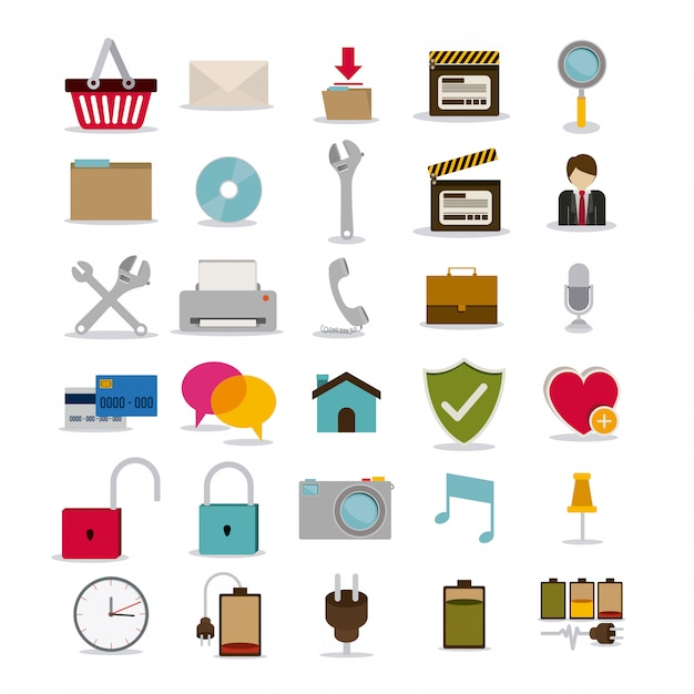 I simboli progettano sopra l'illustrazione bianca di vettore del fondo Vettore Premium