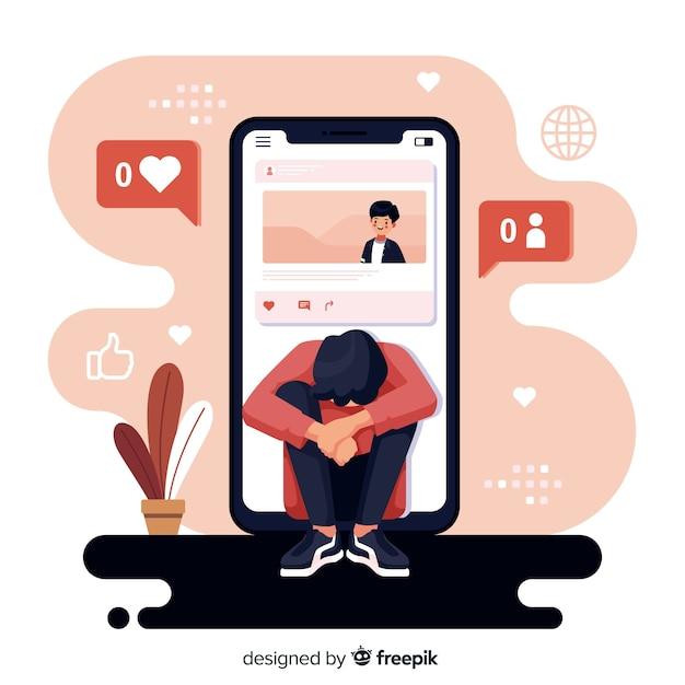 I social media design piatto stanno uccidendo il concetto di amicizia Vettore gratuito