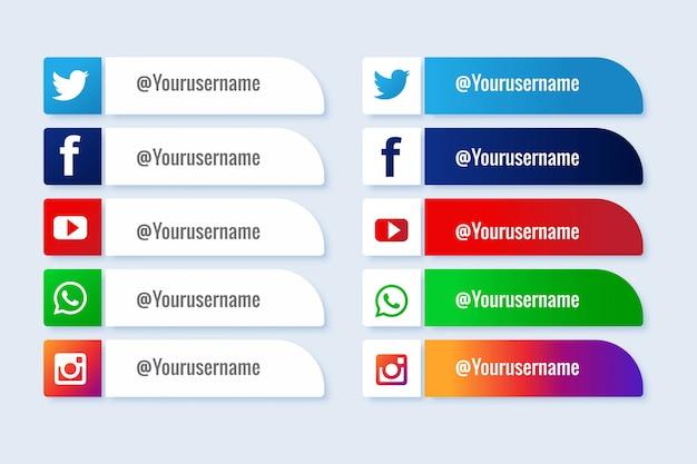 I social media moderni riducono il terzo pacchetto popolare Vettore gratuito