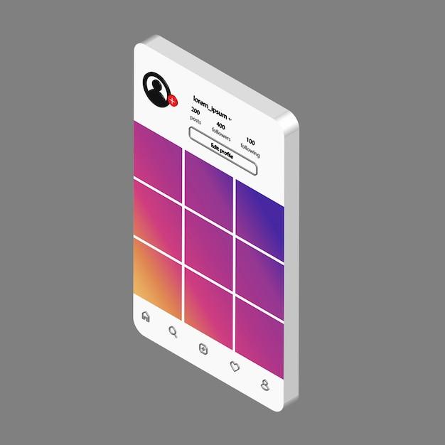 I social network vettoriali finiscono. modello di interfaccia per l'app mobile. Vettore Premium