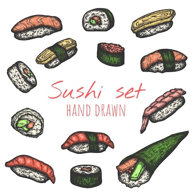 I tipi di sushi vector l'insieme disegnato a mano, illustrazioni isolate di schizzo. Vettore Premium