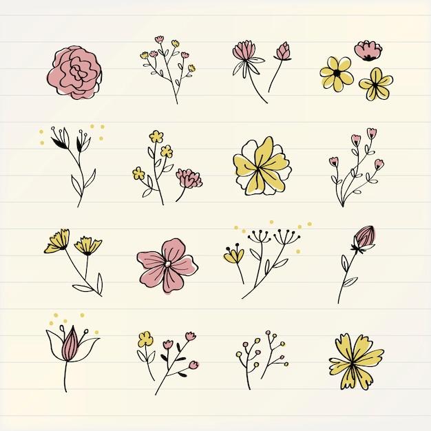 I vari fiori scarabocchiano il vettore della raccolta Vettore gratuito