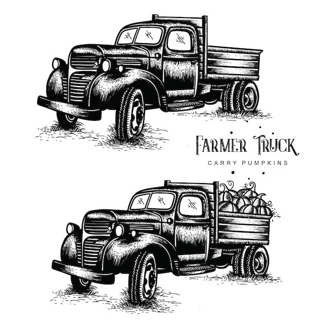 I vecchi camion della fattoria trasportano le zucche Vettore Premium