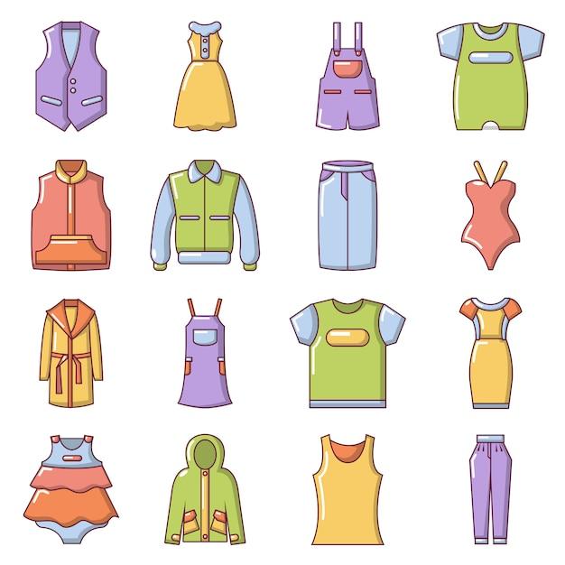 I vestiti di moda indossano le icone impostate Vettore Premium