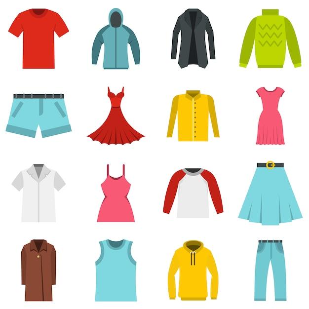 I vestiti differenti hanno messo le icone piane Vettore Premium