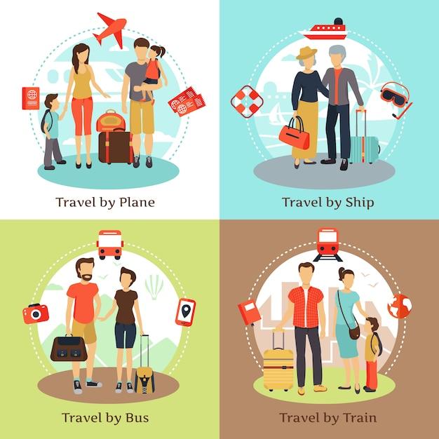 I viaggiatori con le icone piane di concetto 4 del trasporto del bagaglio quadrano con il manifesto del treno della nave del bus Vettore gratuito