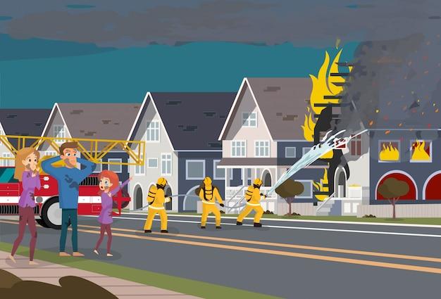 I vigili del fuoco estinguere house Vettore Premium