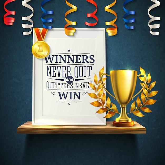 I vincitori citano con l'illustrazione realistica di simboli della vittoria e della tazza di esca Vettore gratuito