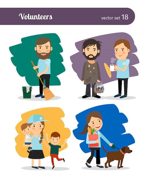 I volontari aiutano i senzatetto Vettore Premium