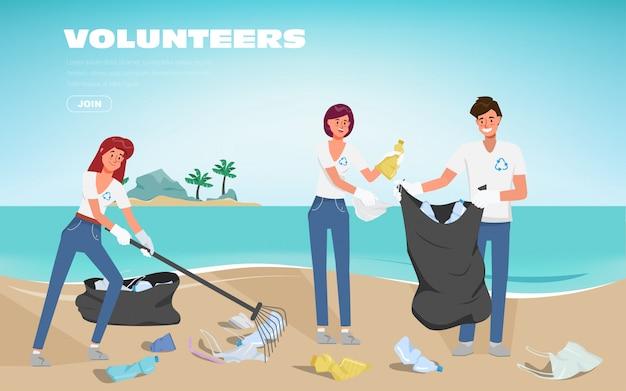 I volontari salvano gli oceani dell'inquinamento da plastica. rifiuti in spiaggia. fermi il fondo di plastica dell'insegna del manifesto. Vettore Premium