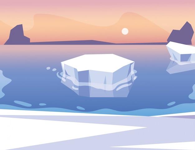 Iceberg che galleggia nell'oceano blu con il sole nel cielo Vettore Premium