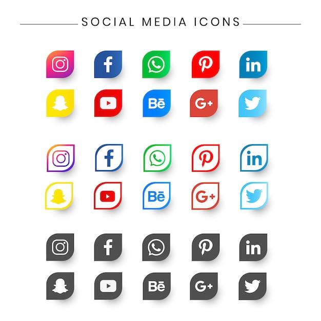 Icon pack social media per curriculum, biglietto da visita. Vettore Premium