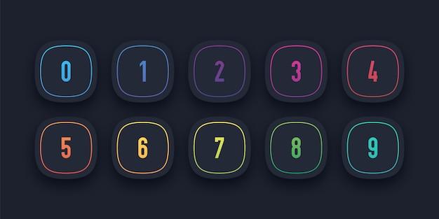 Icona 3d impostata con il punto elenco numerato da 1 a 10 Vettore Premium