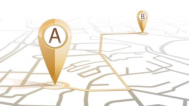 Icona a forma di gps icona del punto di colore oro a al punto b che mostra la mappa stradale su sfondo bianco Vettore Premium