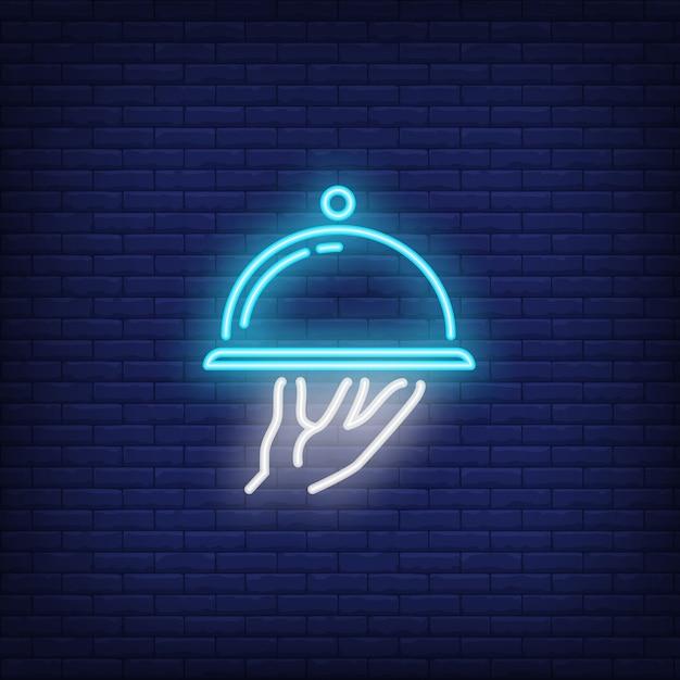 Icona al neon del piatto Vettore gratuito