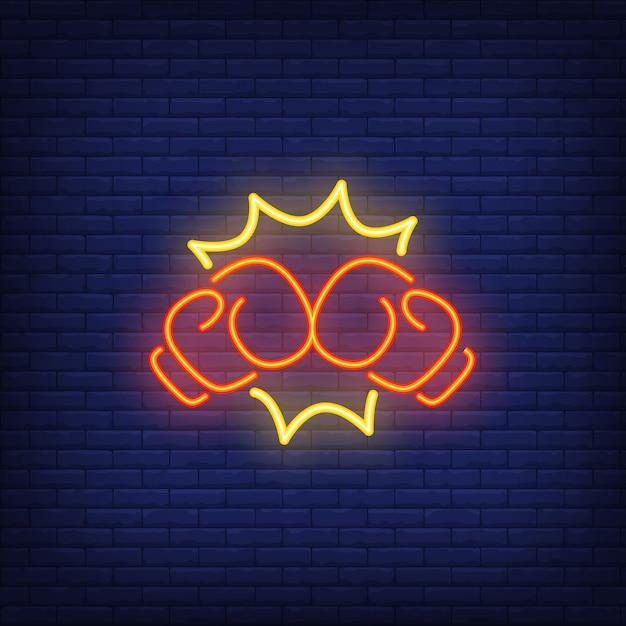Icona al neon del pugno di pugilato Vettore gratuito