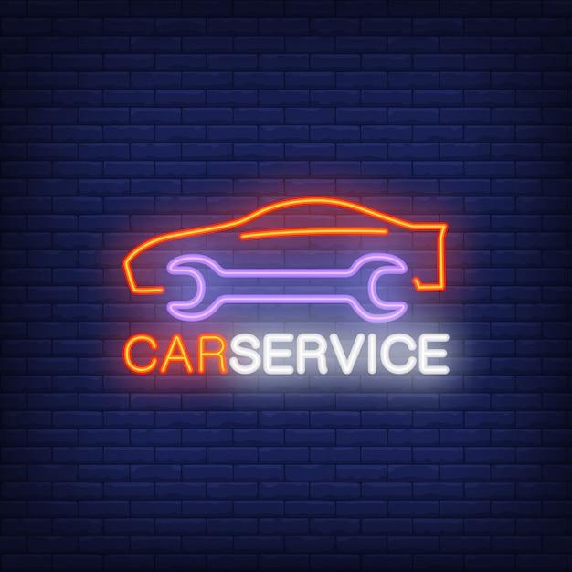 Icona al neon del servizio auto Vettore gratuito