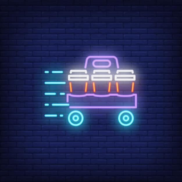 Icona al neon di bevande da asporto Vettore gratuito