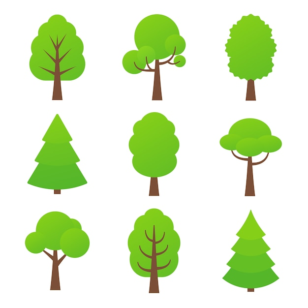 Icona albero. illustrazione. piante forestali verdi della natura. | Vettore  Premium