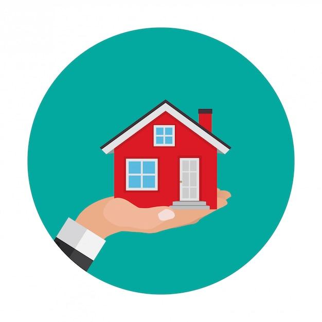 Icona astratta della casa su bianco Vettore Premium