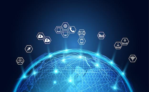 Icona astratta di affari del fondo della rete globale Vettore Premium