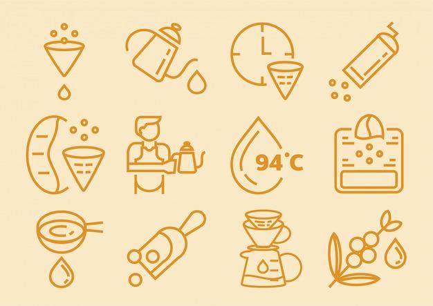Icona caffè a goccia con carta da filtro Vettore Premium