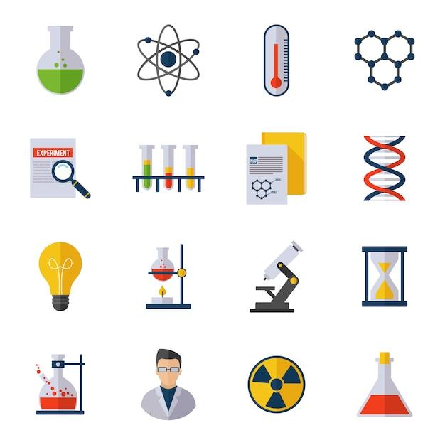 Icona chimica piatto Vettore gratuito