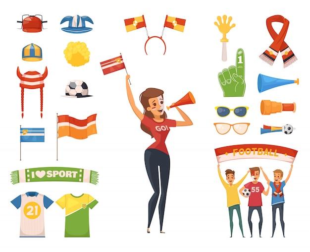 Icona colorata e isolata del fan rooter fan set di accessori e attrezzature per personaggi femminili Vettore gratuito