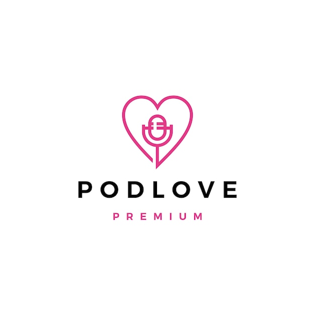Icona con il logo podcast di amore mic Vettore Premium