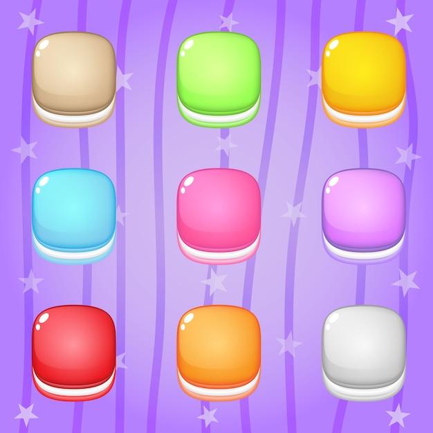 Icona cookie in forma quadrata 9 colori per giochi puzzle. Vettore Premium