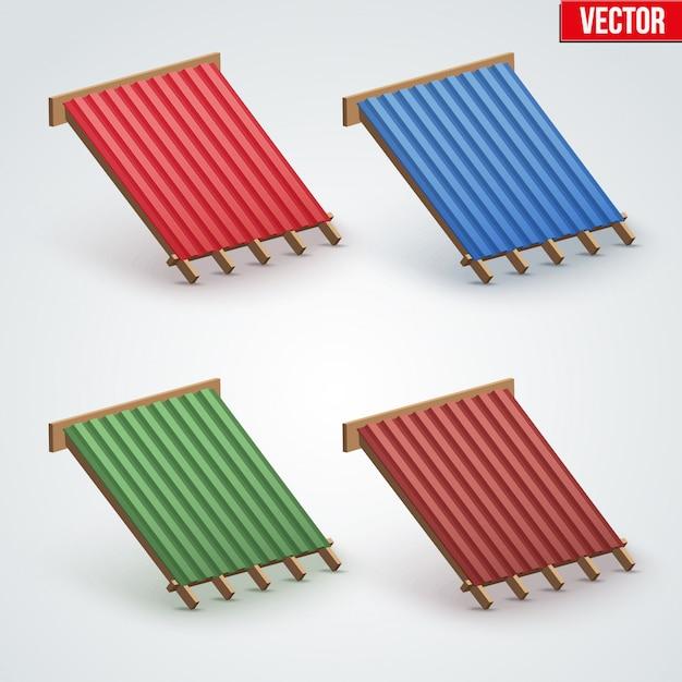Icona copertura in metallo sul tetto Vettore Premium