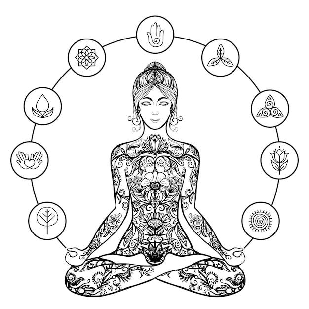 Icona decorativa del nero della donna di yoga del loto Vettore Premium