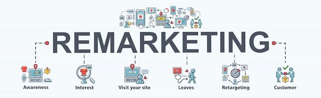 Icona del banner di remarketing per social media marketing, contenuti, interessi, seo e retargeting. Vettore Premium