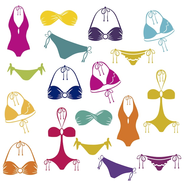 Icona del bikini Vettore Premium