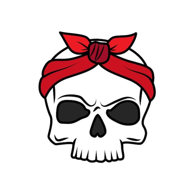 Icona del cranio del tatuaggio vecchia scuola divertente Vettore Premium