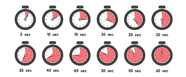 Icona del cronometro impostata con tempi diversi. orologio sportivo con significato di tempo di colore rosso Vettore Premium