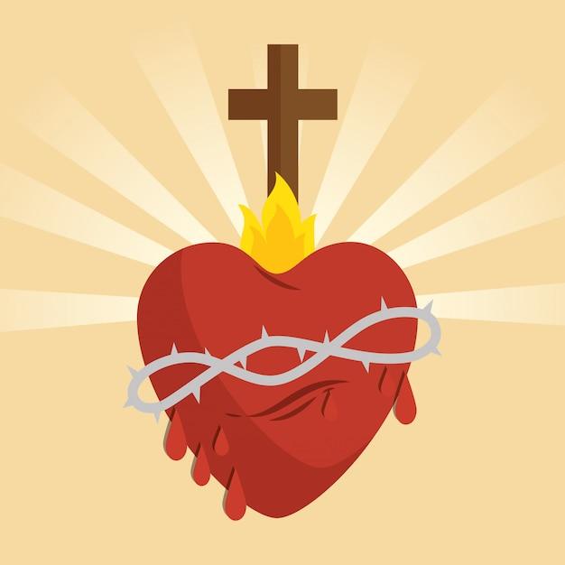 Icona del cuore sacro gesù Vettore gratuito