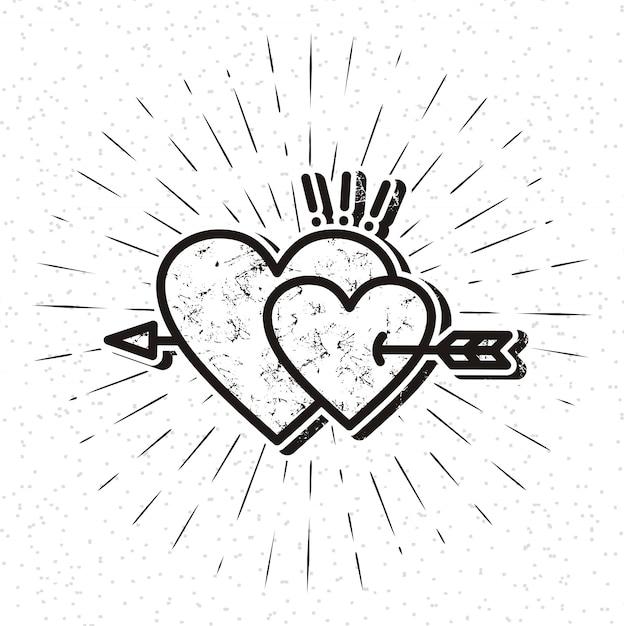 Icona del cuore vintage con sunburst Vettore Premium