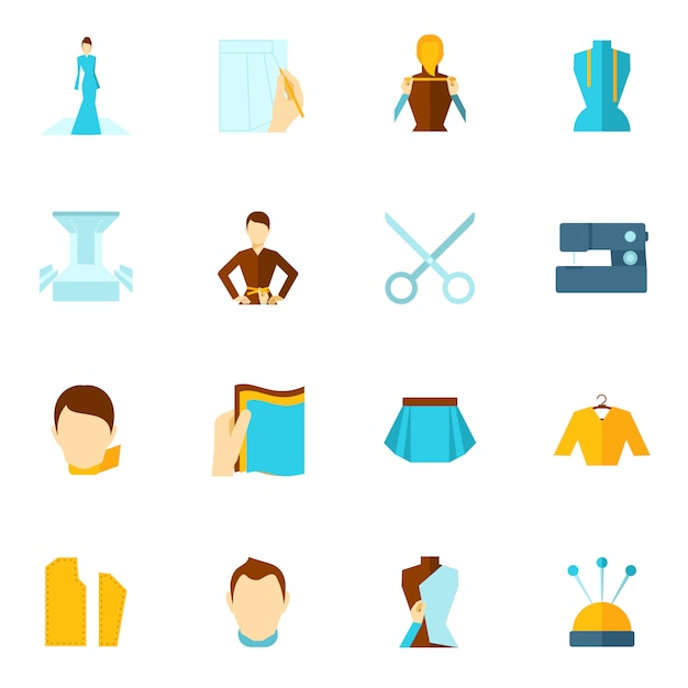 Icona del designer di vestiti piatta Vettore gratuito
