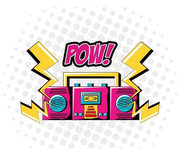 Icona del dispositivo e tuona di boombox Vettore Premium