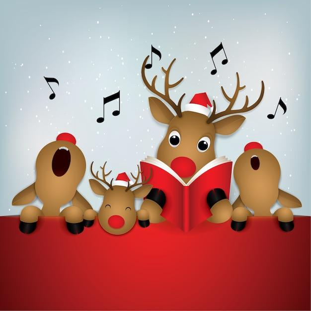 Icona del fumetto, cervi che cantano buon natale. Vettore Premium
