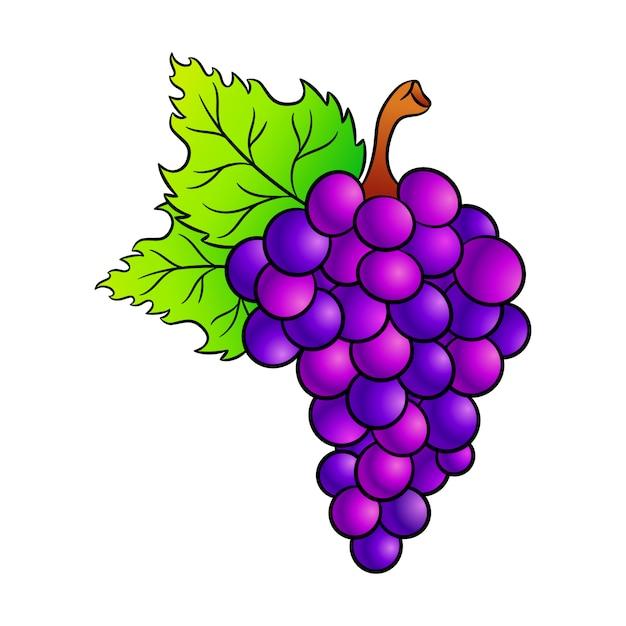 Icona del fumetto dell'uva. Vettore Premium