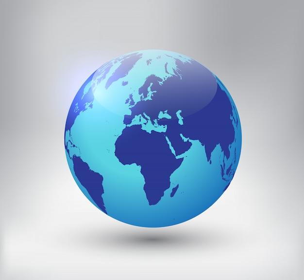 Icona del globo di terra 3d Vettore Premium